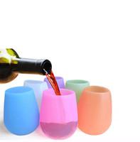 gobelet en caoutchouc achat en gros de-Silicone tasses verres à vin rouge Stemless Tumbler Tasse de bière en caoutchouc Eco incassable Tasses pour Cocktail Potable BBQ Camping en plein air Portable