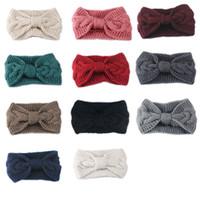 Wholesale knitting crochet hair band for sale - Group buy Women Lady Crochet Bow Knot Turban Headband Knitted Head Wrap Hairband Winter Ear Warmer Hair Band Accessories