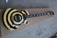 Wholesale factory price guitars resale online - Hot selling Zakk Wylde Guitar Yellow Black Circle Strings Electric Guitar Factory Price