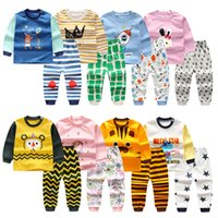 Wholesale baby outfits for boys winter for sale - Group buy Casual Baby Clothartoon Pes Kids Boys Clothes for Girls Pajamas Set Crint Outfits Long Sleeve Blouse Tops Striped Troursers Sleepwear M194