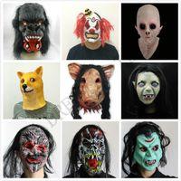 cabezas de animales al por mayor-Halloween Creepy Animal Prop Máscara de fiesta de látex Unisex Scary Pig Head Máscara King Kong Orangután Halloween Scary Mask con cabello negro