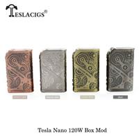ingrosso best vw box mod-Sigarette elettroniche 100% originali Tesla Nano 120W VW APV Box Mod Fit TESLA H8 Subohm 2017 migliore meccanico Mod Vape Vaporizzatore