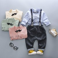 Wholesale boys outfits formal suit resale online - Spring Baby Boy Clothing Sets Infant Clothes Suits Shirt Leisure work Bib Pants Kids Children Boys Formal Gentleman Outfits