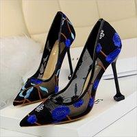topuk parmak ayak bileği toptan satış-Kadınlar Yüksek Topuklu Artı Boyutu Işlemeli Çiçek Ayak Bileği Kayışı Ayakkabı Pompalar Kadın Iki Parçalı Seksi Parti Düğün Sivri Burun
