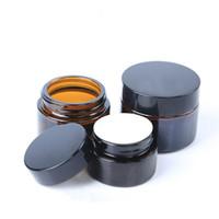 glaskannen großhandel-Augencreme Braune Glasflasche Gesichtscremes Krug 10g 15g 20g 30g 50g 100g Hochwertige Kosmetik Box Runde 2 8yj C1