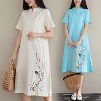 vestido curto das mulheres chinesas venda por atacado-2019 chinês vestido cheongsam qipao mulheres de algodão e linho cheongsam vestido de manga curta qipao vestidos para mulheres estampa floral