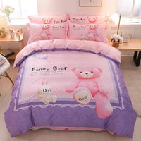 ingrosso re di piuma del panda-Cute Cartoon Bear Panda Dog Print Set biancheria da letto per bambini Queen King Size copripiumino lenzuola federa cotone Tessili per bambini