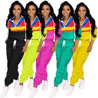 Wholesale girl hoodies green resale online - Women Autumn Piece Clothing Set Contrast Color Patchwork Designer Outfit Zipper Long Sleeve Hoodie Top Pocket Pants Sports Suit C71502