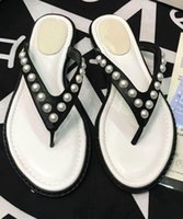 Wholesale pearl flip flops women resale online - 2019 Pearl women sandals camillia Fashion leather luxury sandals flat slides heel leather beach shoes open toe non slip soft bottom