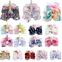 meerjungfrau clips großhandel-8-Zoll-Weihnachtsbogen-Mädchenhaarbögen Blumen-Regenbogen-Meerjungfrau-Einhorn-Entwurfs-Mädchen-Scherer-Mädchen-Haarspangen-Haar-Zusatz