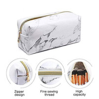 Wholesale leather pencil case cosmetic bags for sale - Group buy New Fashion Ladies Makeup Cosmetic Bag Marble Pattern PU Toiletry Pencil Case Leather Storage Brushes Pouch For Travel Bags