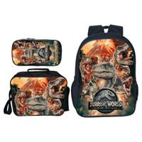 çanta çocuk dinozoru toptan satış-3 adet / takım Popüler Moda Hayvan Baskı Jurassic Dünya Çocuk Okul Çantaları Dinozor Erkek Sırt Çantası Kızlar Için Çocuklar Için Schoolbag J190619