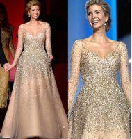 ünlü prenses elbisesi toptan satış-Ivanka Trump Açılış Ünlü Elbiseler 2019 Yeni Şampanya Blingbling Boncuklu Prenses Balo Tül Çıplak Moda Abiye giyim