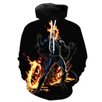 jersey caballero al por mayor-Undead Flame Skull Knight Print Cool Hoodie 3D Hooded Pullover