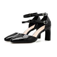 ingrosso blocco design-Vendita calda-2019 sexy donne cool 7,5 centimetri tacchi alti sandali con tacco a blocco scarpe Design elegante nero con cinghie Pompe di qualità dolce