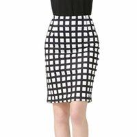 falda de un paso al por mayor-Nueva moda Viento Impresión digital Celosía Falda Paquete delgado Cadera dividida Rodilla Un paso Falda Tallas grandes S-3XL