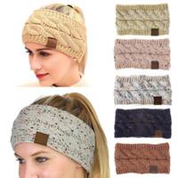 venda elástica de punto de ganchillo al por mayor-21 Color Big Girls Hairband Colorful Crochet Knitted Twist Headband Winter Ear Warmer Elastic Hair Band Accesorios para el cabello ancho M401
