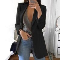 kulüp blazers toptan satış-Cepler ile Tümü - Solid Slim Fit Günlük Giyim İşi Parti Casual Turn-down Yaka Uzun Kollu Kadın Blazer Club Kokteyl
