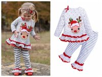 Wholesale girls toddler baby clothing sets for sale - Group buy Toddler Girls Christmas Boutique Clothing cute deer Embroideried long sleeve T shirt striped pants ruffled baby girls x mas make up set