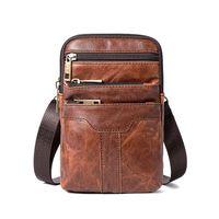 men s leather body bag оптовых-New Small Business Genuine Leather Men Messenger Bag Cross-body Men's Bag Cowhide Leisure Single-shoulder Zipper Small