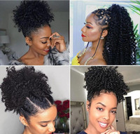 Wholesale kinky curly ponytail resale online - Afro Kinky Curly Human Hair Ponytail For Black Women Brazilian Virgin Hair Drawstring Ponytail Hair Extensions inch