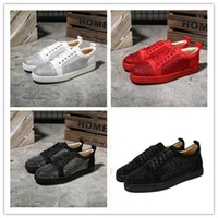 Wholesale parties tops for mens online – design Top Designer Sneakers Red e Low Cut Suede spike Luxury For Mens and Womens Shoes Party Wedding crystal Leather Sneakers