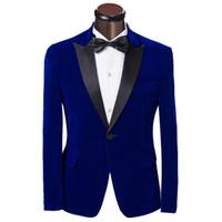 ingrosso vestiti sottili adatti gli abiti 46-Tute da uomo di lusso Tuxedo Abiti 2019 Moda blu singolo uomo vestito Slim Abiti da sposo sposo per uomo Custom Made Mens Suit