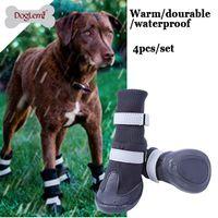 zapatos de perro grande al por mayor-Gran perro grande de cuero de la PU zapatos deportivos de invierno a prueba de agua para mascotas perro cachorro Martin botas antideslizantes pitbull golden retriever zapatos de lluvia