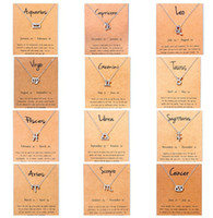 Wholesale men pendants resale online - Hot zodiac Necklaces with Gift card constellation sign Pendant Silver chains Necklace For Men Women Fashion Jewelry in Bulk