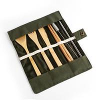 Wholesale korean fork resale online - 7pcs set Portable Cutlery Set Outdoor Travel Bamboo Flatware Set Knife Chopsticks Fork Spoon Dinnerware Sets CCA11849 set