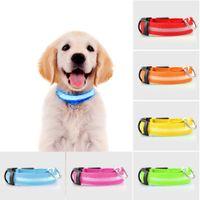 ingrosso ha condotto il collare del cane di incandescenza-Pet Supplies LED Pet Dog Collar light Night Sicurezza Lampeggiante Glow Dog Nylon Guinzagli Cani Lampada fluorescente luminosa a led