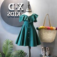 kıyafet modacı tasarımcıları toptan satış-Kızlar Elbiseler 2019 yeni Yaz Yeşil Çocuklar Elbiseler Moda Balo Bebek Elbise Kız Giysileri çocuklar giysi tasarımcısı ço ...