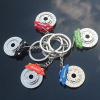 Wholesale race car parts for sale - Car Racing Brake Disc Caliper Keychains Keyfob Auto Part Keyrings Key Chain Zinc Alloy Brake Rotors Key Ring Keyring Bag Decor Keychain Gift