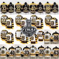 pastrnak trikot großhandel-Herren Boston Bruins 2019 Stanley Cup Finale 4 Bobby Orr 33 Zdeno Chara 37 Patrice 40 Tuukka Rask Brad Marchand David Pastrnak Hockey Trikots