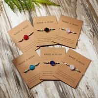 pulseiras feitas de corda venda por atacado-Fazer um papel Woven desejo colorido Pedra Natural Cartão ajustável pulseira de sorte corda Corda Vermelha Charme Pulseiras Bangle Femme Moda Jóias