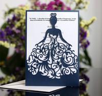 rendas imprimíveis venda por atacado-2019 Menina Bonita Oco de Cristal Lace Bow Wedding Convites Cartões de Convite de Casamento de Corte A Laser Suprimentos Cartões Para Impressão Frete Grátis