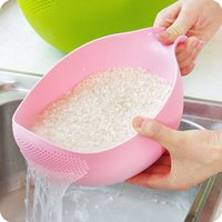 Wholesale rice tool resale online - Creative Plastic Rice Beans Peas Washing Filter Strainer Cleaning Gadget Useful Convenient kitchen tool