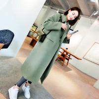koreanische casual anzug frauen großhandel-Frauen Wollmantel, 2019 Winter neue beiläufige koreanische Version dünner langer Mantel, volle Hülsen-Klage-Kragen-Frauen plus Größen-Art- und Weisemäntel