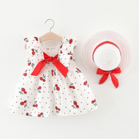 Wholesale cherry costume resale online - Summer Toddler Baby Kids Girls Sleeveless Cherry Printed Dot Princess Ruched Dresses Bow Hat Outfits For Girls Costume Z18