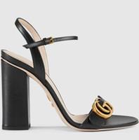 Wholesale fashion hardware resale online - Summer Branded Women Leather High Heel Sandal Designer Lady Gold toned Hardware Adjustable Ankle Strap Rubber Sole ChunkY Heel Sandal