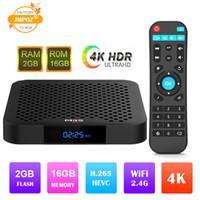 quad core tv box dhl shipping venda por atacado-Hot M9S W2 Amlogic S905W Quad Core Android 7.1 TV CAIXA de 2 GB 16 GB Ultra HD H.265 4 K Media Player DHL Frete Grátis Melhor S905X2 H96 MAX