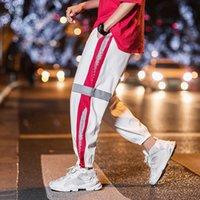 pantalones delgados de hip hop al por mayor-Pantalones de jogging reflectantes nocturnos para hombres Pantalones de rayas laterales finas de verano nuevos Pantalones reflectantes de hip hop Pantalones de chándal con cordón Hombres 5XL Harem