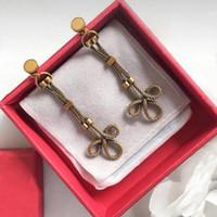 chinesische schmuckmarken großhandel-Mode Frauen Ohrringe Vintage-Stil chinesischen Knoten Ohrringe Retro-Metall Messing Rose Chain Drop berühmte Marke d Schmuck