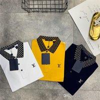 mujeres de polo a cuadros al por mayor-19ss Nuevo diseño de marca de lujo bordado con cuello a cuadros cuello Camisa de polo Hombres Mujeres casual Streetwear Sudaderas camisas al aire libre