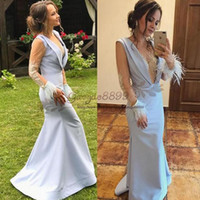 Wholesale dark blue long lace up resale online - 2019 Hot Sale elegant mermaid Evening Dresses sexy v neck sheer long sleeves with Ostrich feather sequined beaded Special Occasion Dresses