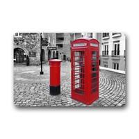 tapetes vermelhos venda por atacado-Memória Início Antique telefone vermelha de Londres Booth lavável Capacho Portão Pad Interior Banheira Cozinha Decor Area Rug Tapete