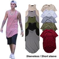 mann tank t-shirts großhandel-Einfarbiges T-Shirt für Herren Justin Bieber Ärmelloses, langärmliges T-Shirt mit abgerundetem Saum, Rundhalsausschnitt, Weste, Tanktop, Männer, Gestreifte T-Shirts 100% Baumwolle