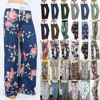 pantalones harén xl para mujer al por mayor-Pantalones de pijama casuales cómodos de las mujeres con estampado floral salón ancho de la pierna boho holgados harem hippie yoga palazzo pantalones de playa