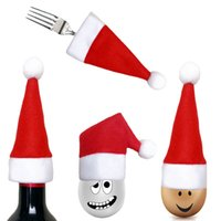 Wholesale fork spoon party resale online - Christmas Hats Christmas Silverware Holder Pockets Knife Spoon Fork Bag Wine Bottle Cap Topper Candy Cover Party Decorations