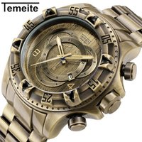 Wholesale red retro clock for sale - Group buy Relogio Top Brand Luxury Fashion TEMEITE Retro Bronze Quartz Watches Men Watch Army Military Wristwatches Waterproof Male Clock